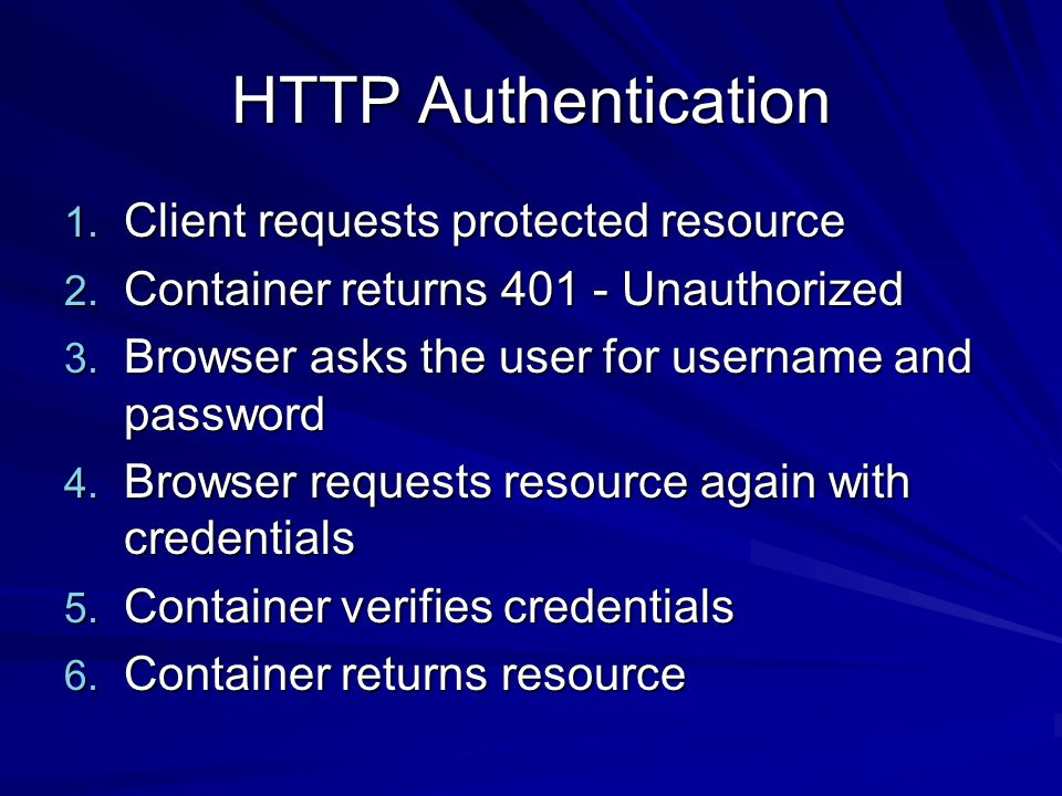 HTTP Authentication 1. Client requests protected resource 2.