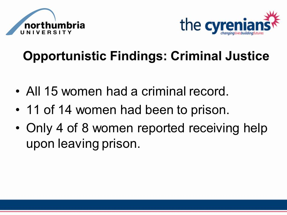 Opportunistic Findings: Criminal Justice All 15 women had a criminal record.