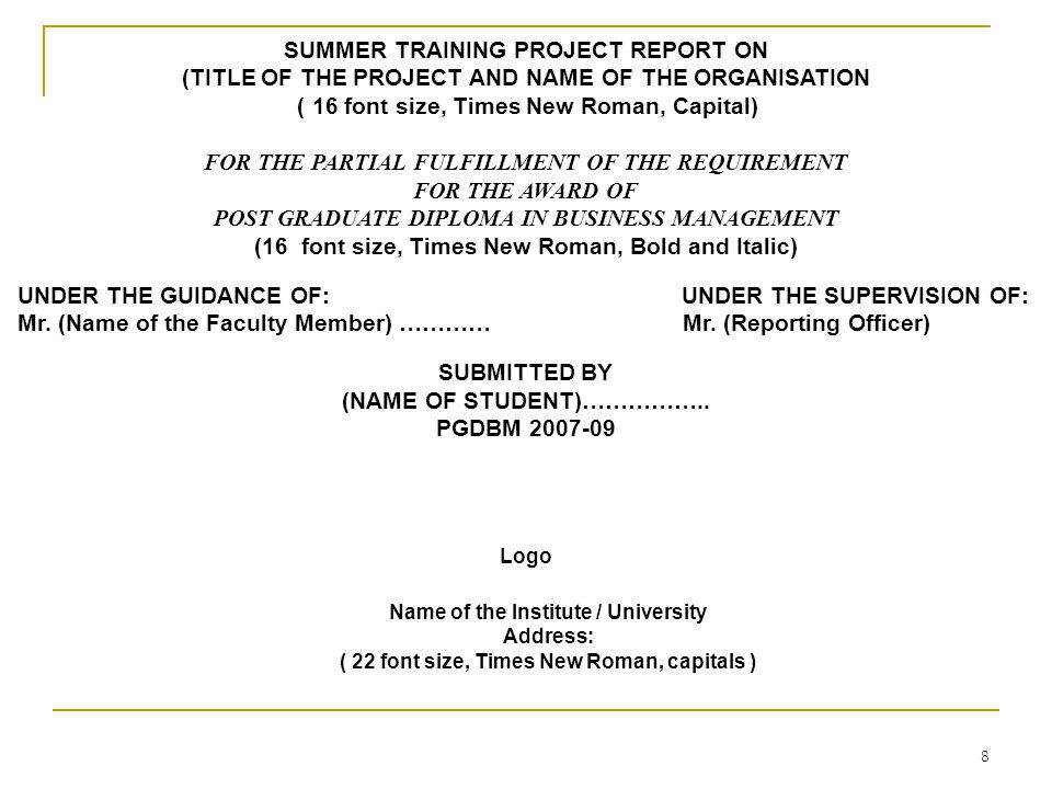 1 SUMMER TRAINING PRESENTATION  2 Summer Training The Summer