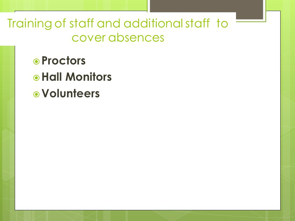  Proctors  Hall Monitors  Volunteers Training of staff and additional staff to cover absences