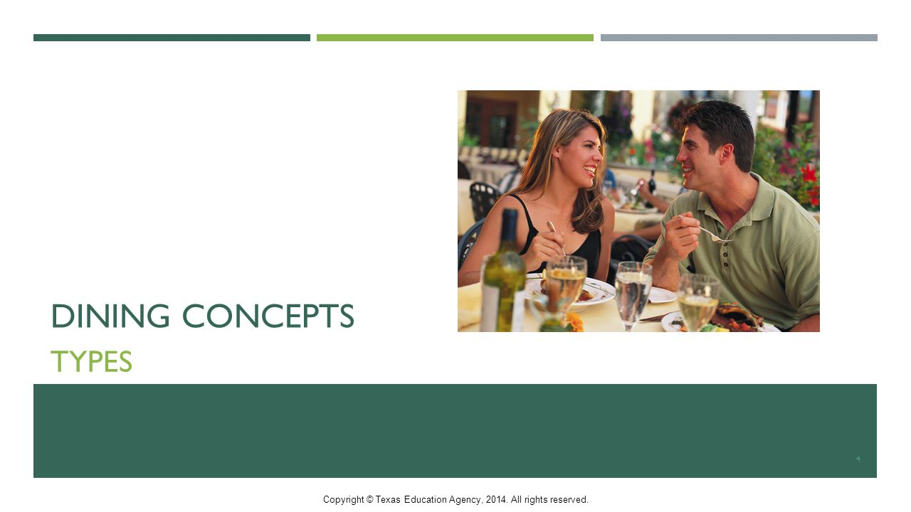 DINING CONCEPTS TYPES 4 Copyright © Texas Education Agency, All rights reserved.