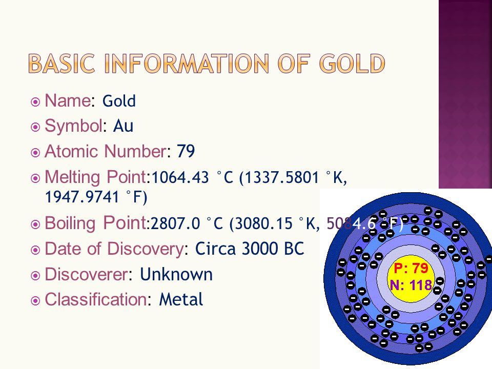 By Agnes 72 Name Gold Symbol Au Atomic Number 79