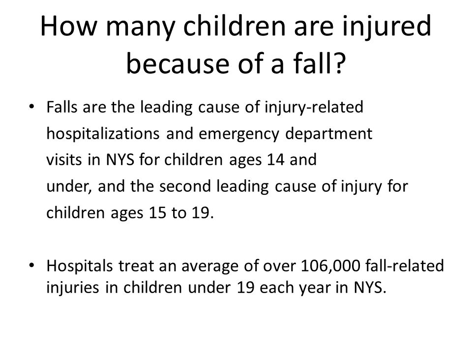How many children are injured because of a fall.