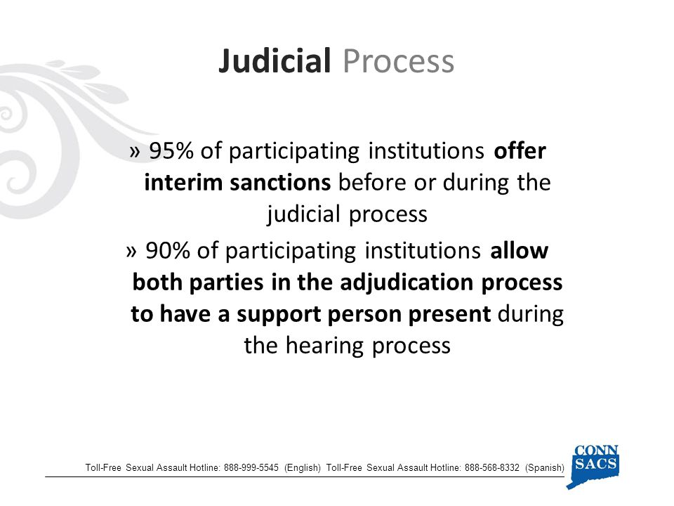 Judicial Process Toll-Free Sexual Assault Hotline: (English) Toll-Free Sexual Assault Hotline: (Spanish) »95% of participating institutions offer interim sanctions before or during the judicial process »90% of participating institutions allow both parties in the adjudication process to have a support person present during the hearing process