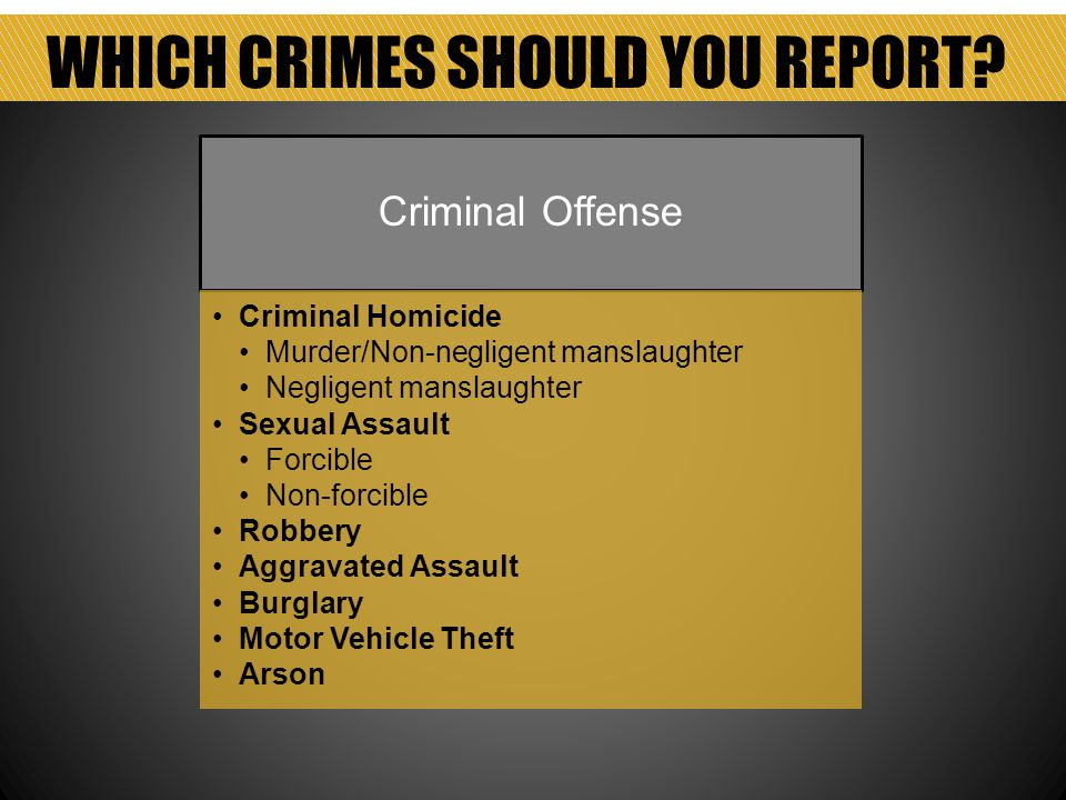 WHICH CRIMES SHOULD YOU REPORT.