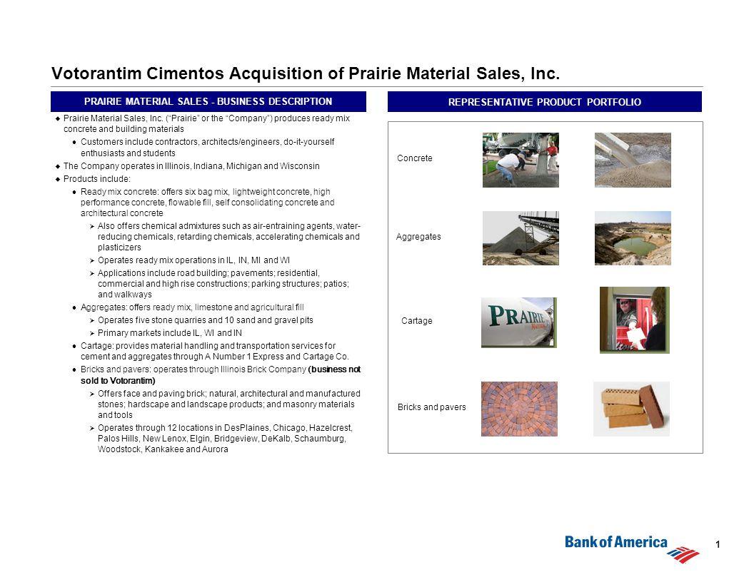0 Votorantim Cimentos Acquisition of Prairie Material Sales
