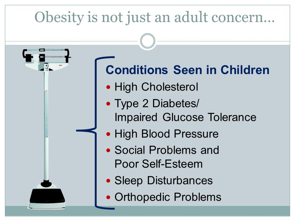 Obesity is not just an adult concern… Conditions Seen in Children High Cholesterol Type 2 Diabetes/ Impaired Glucose Tolerance High Blood Pressure Social Problems and Poor Self-Esteem Sleep Disturbances Orthopedic Problems