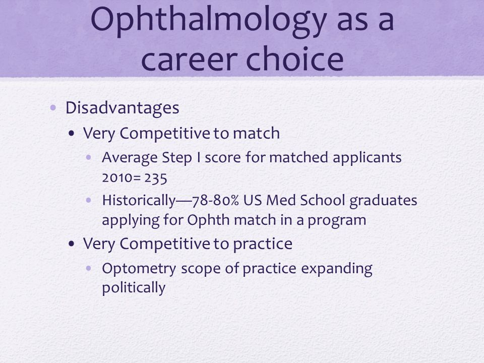 Ophthalmology? Is it right for me?  Ophthalmology as a career choice