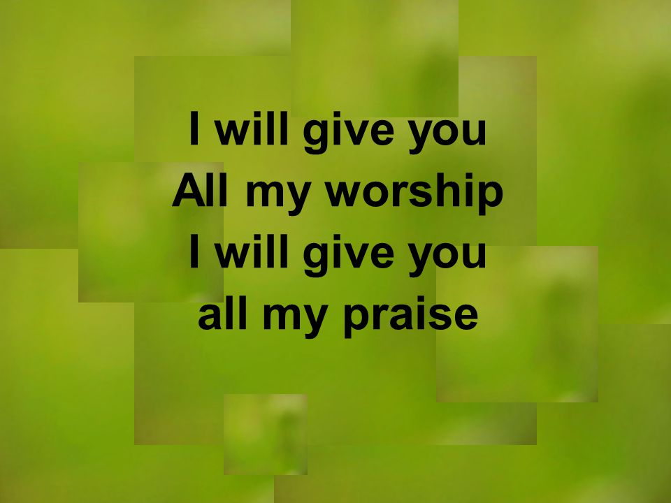 I will give you All my worship I will give you all my praise