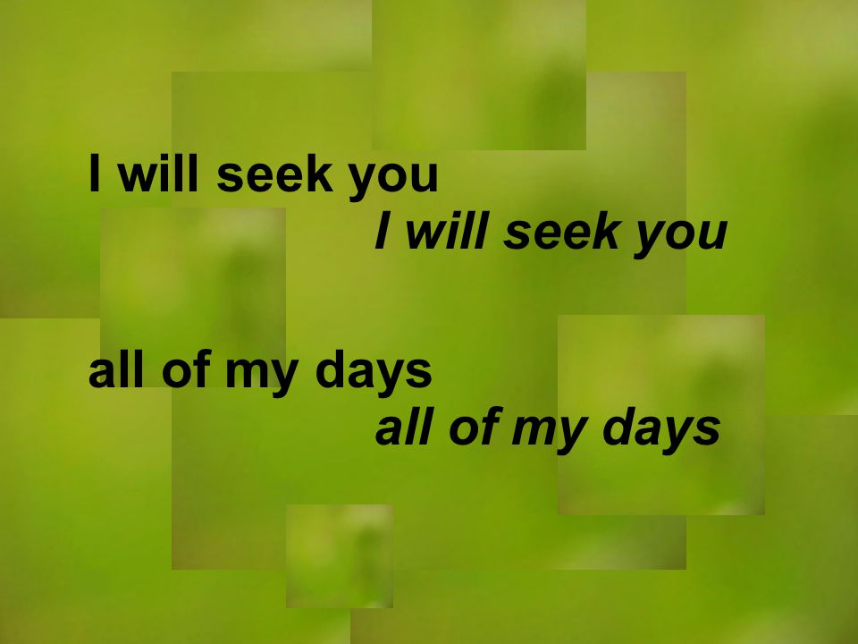 I will seek you all of my days I will seek you all of my days