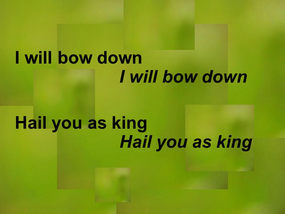 I will bow down Hail you as king I will bow down Hail you as king