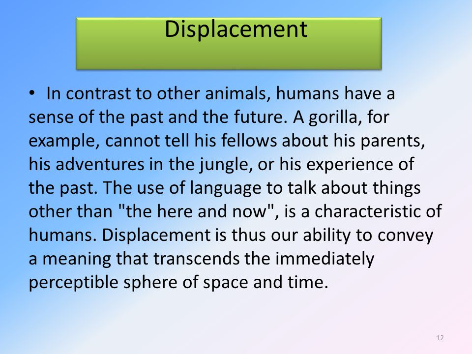 Displacement In contrast to other animals, humans have a sense of the past and the future.