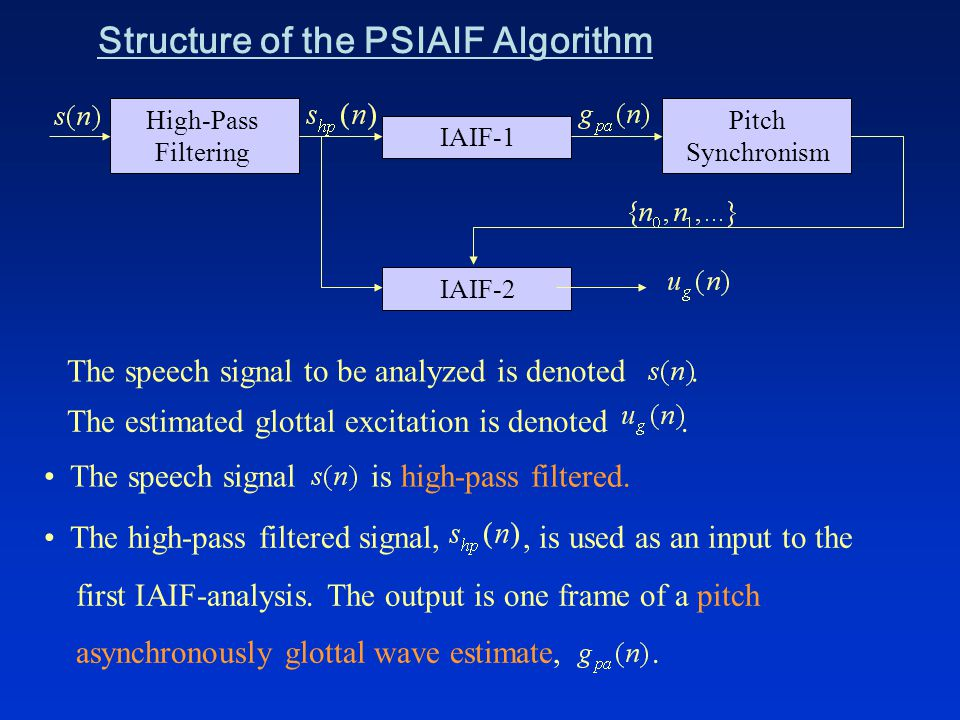 Structure of the PSIAIF Algorithm High-Pass Filtering Pitch Synchronism IAIF-1 IAIF-2 The speech signal to be analyzed is denoted.