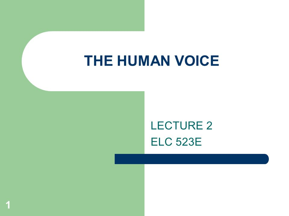 1 THE HUMAN VOICE LECTURE 2 ELC 523E