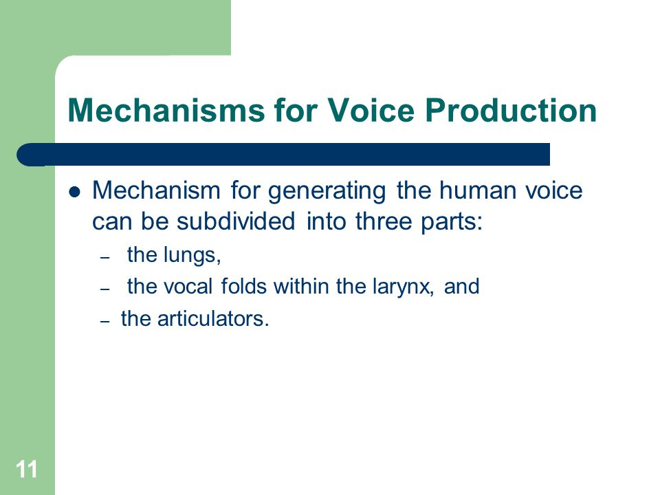 11 Mechanisms for Voice Production Mechanism for generating the human voice can be subdivided into three parts: – the lungs, – the vocal folds within the larynx, and – the articulators.
