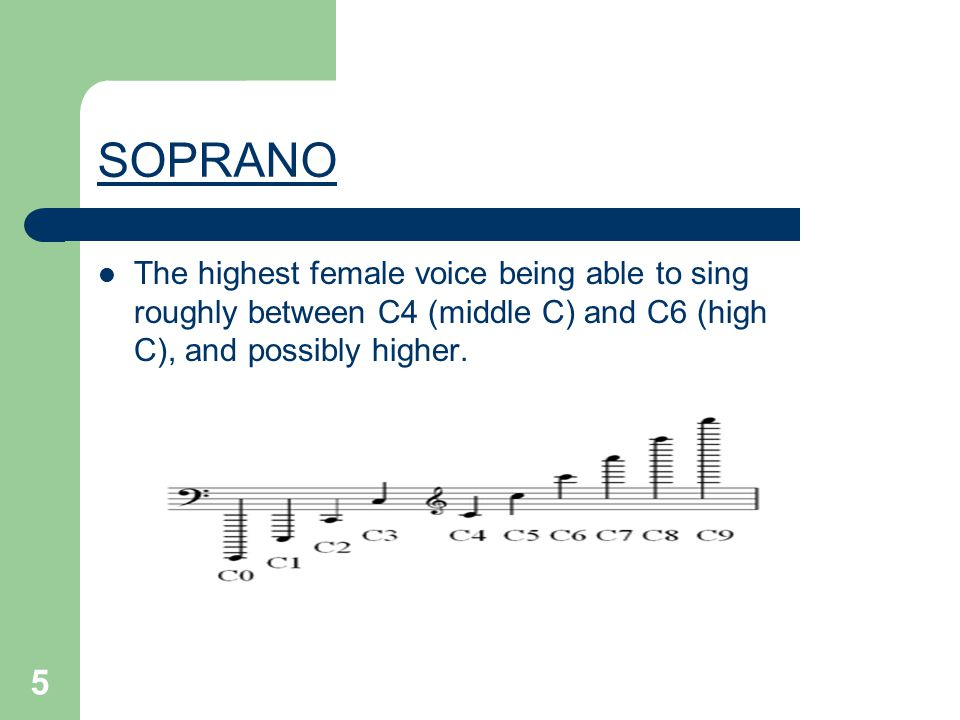5 SOPRANO The highest female voice being able to sing roughly between C4 (middle C) and C6 (high C), and possibly higher.
