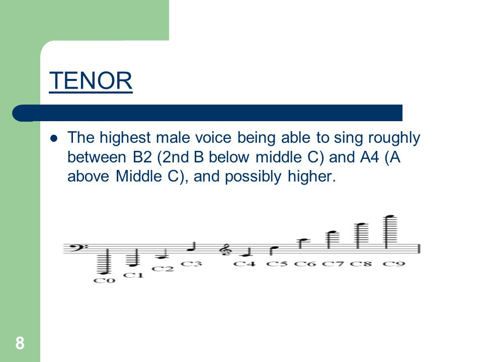8 TENOR The highest male voice being able to sing roughly between B2 (2nd B below middle C) and A4 (A above Middle C), and possibly higher.