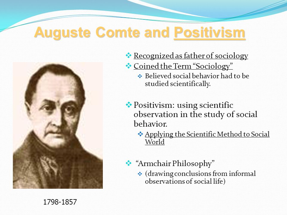 Auguste Comte and Positivism  Recognized as father of sociology  Coined the Term Sociology  Believed social behavior had to be studied scientifically.