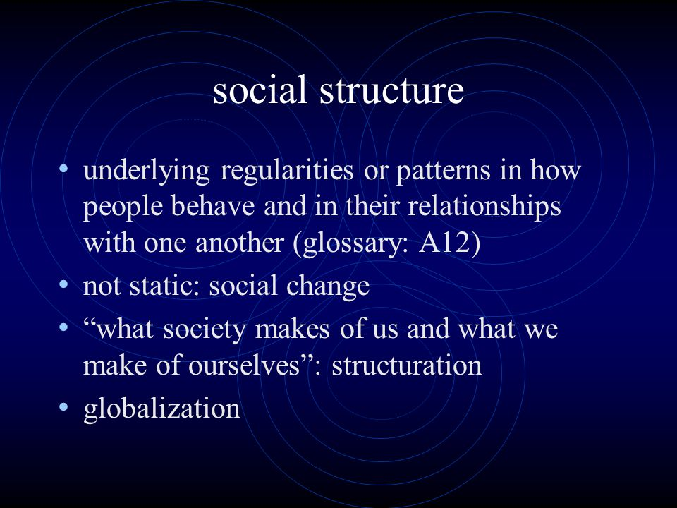 social structure underlying regularities or patterns in how people behave and in their relationships with one another (glossary: A12) not static: social change what society makes of us and what we make of ourselves : structuration globalization