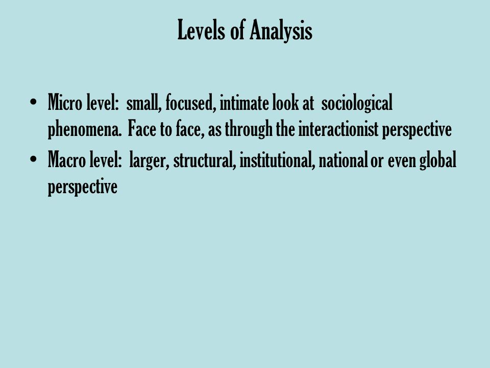Levels of Analysis Micro level: small, focused, intimate look at sociological phenomena.