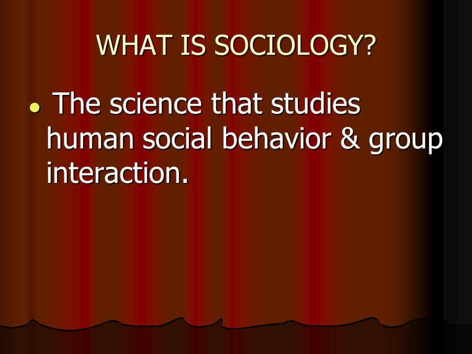 WHAT IS SOCIOLOGY. The science that studies human social behavior & group interaction.