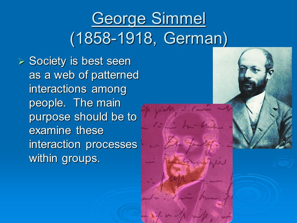 George Simmel ( , German)  Society is best seen as a web of patterned interactions among people.