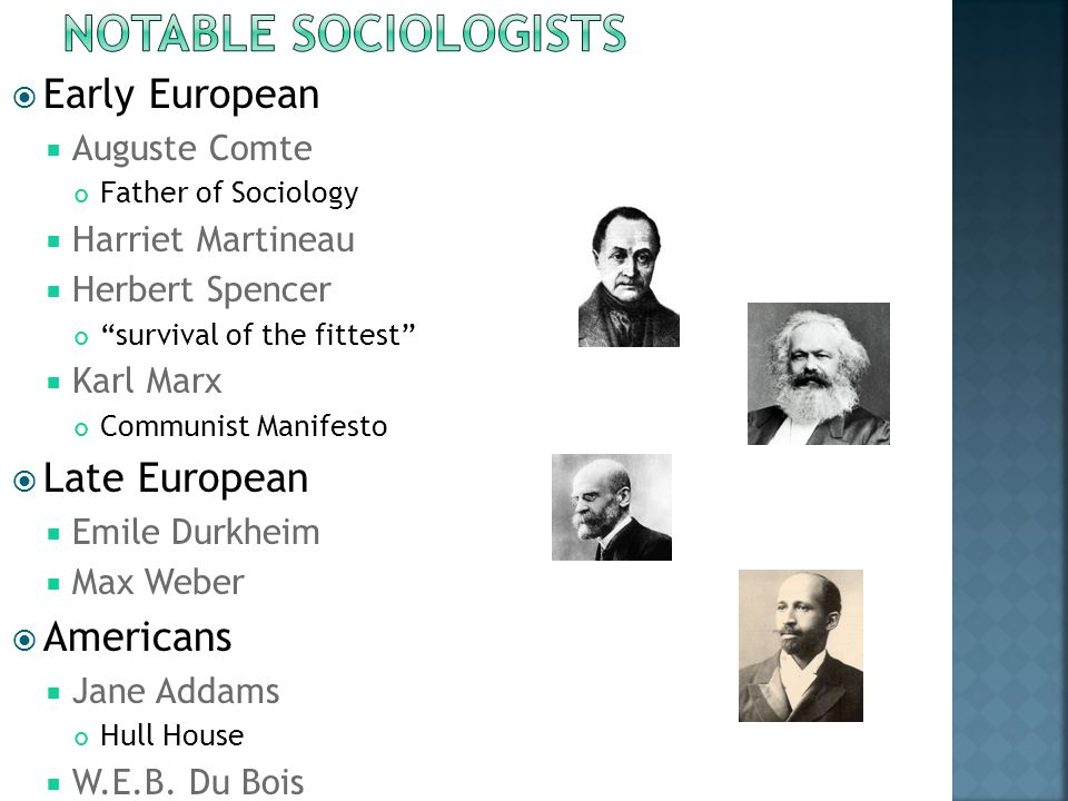  Early European  Auguste Comte Father of Sociology  Harriet Martineau  Herbert Spencer survival of the fittest  Karl Marx Communist Manifesto  Late European  Emile Durkheim  Max Weber  Americans  Jane Addams Hull House  W.E.B.