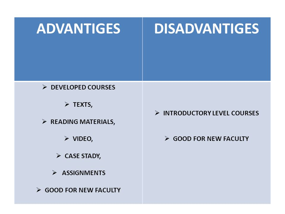 ADVANTIGESDISADVANTIGES  DEVELOPED COURSES  TEXTS,  READING MATERIALS,  VIDEO,  CASE STADY,  ASSIGNMENTS  GOOD FOR NEW FACULTY  INTRODUCTORY LEVEL COURSES  GOOD FOR NEW FACULTY