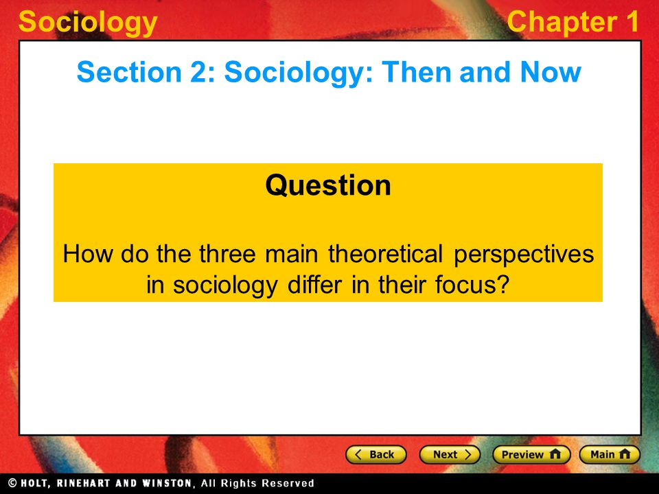 SociologyChapter 1 Question How do the three main theoretical perspectives in sociology differ in their focus.