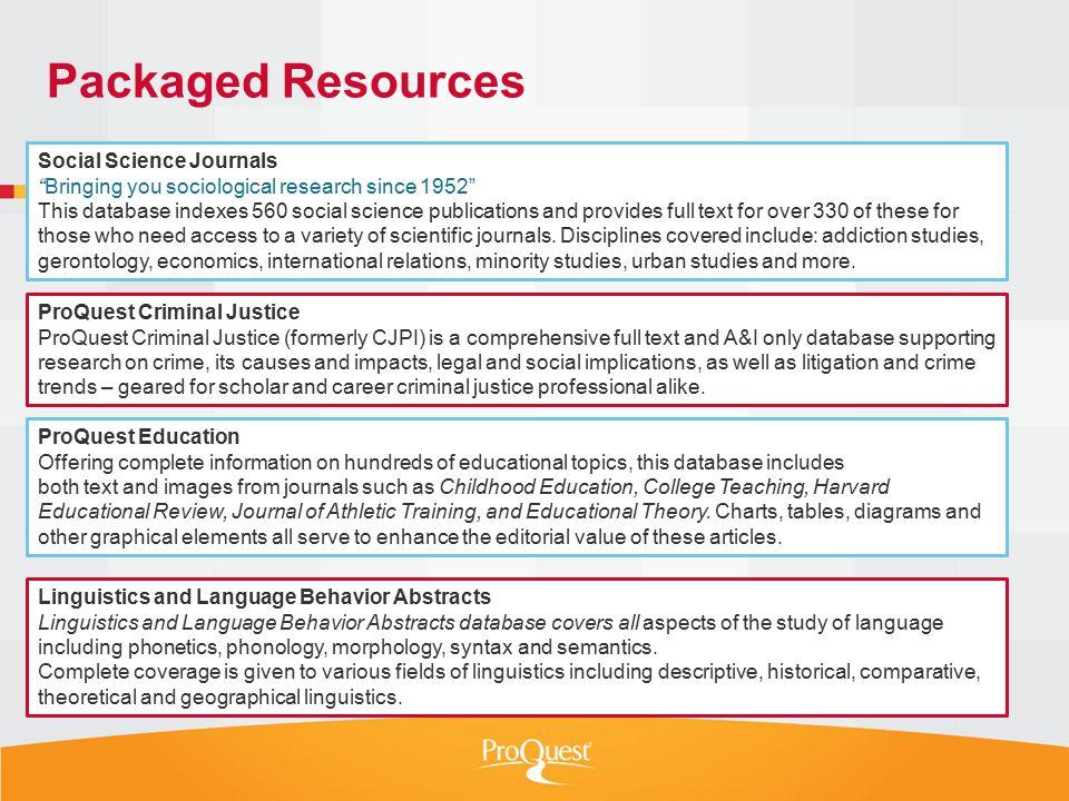 Social Sciences Packages  The New ProQuest Social Sciences