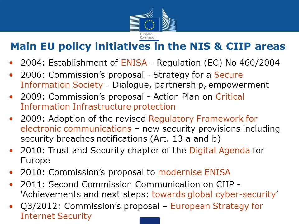 Eu Policy On Network And Information Security Nis And Critical