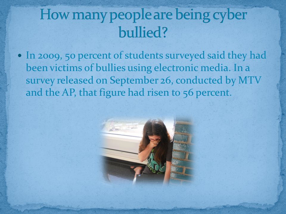 In 2009, 50 percent of students surveyed said they had been victims of bullies using electronic media.
