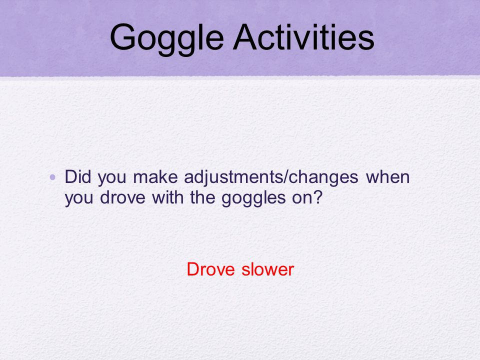 Did you make adjustments/changes when you drove with the goggles on Drove slower Goggle Activities