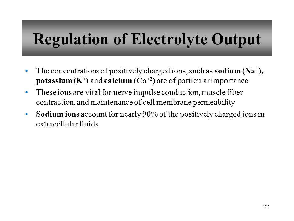 Regulation of Electrolyte Output The concentrations of positively charged ions, such as sodium (Na + ), potassium (K + ) and calcium (Ca +2 ) are of particular importance These ions are vital for nerve impulse conduction, muscle fiber contraction, and maintenance of cell membrane permeability Sodium ions account for nearly 90% of the positively charged ions in extracellular fluids 22