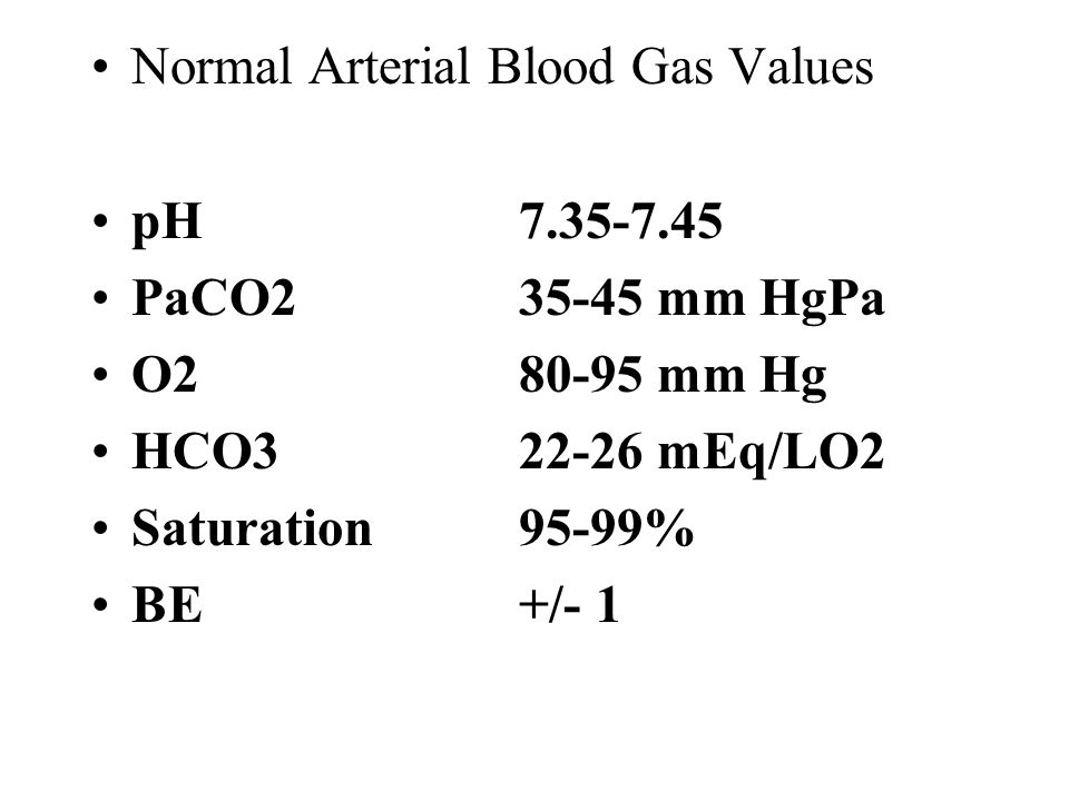 Normal Arterial Blood Gas Values pH PaCO mm HgPa O mm Hg HCO mEq/LO2 Saturation95-99% BE +/- 1