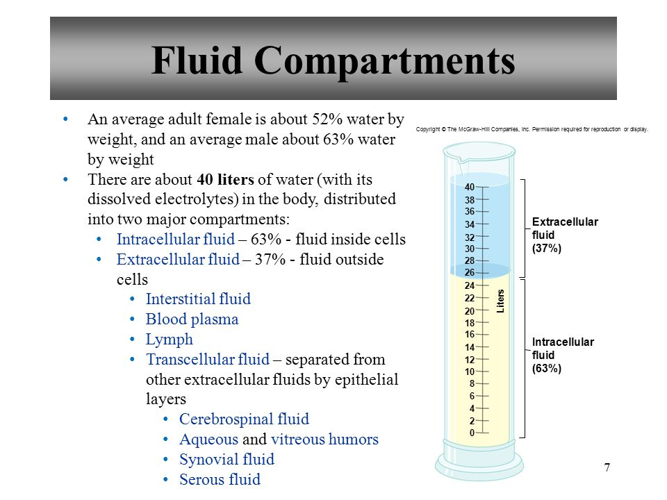 7 Fluid Compartments An average adult female is about 52% water by weight, and an average male about 63% water by weight There are about 40 liters of water (with its dissolved electrolytes) in the body, distributed into two major compartments: Intracellular fluid – 63% - fluid inside cells Extracellular fluid – 37% - fluid outside cells Interstitial fluid Blood plasma Lymph Transcellular fluid – separated from other extracellular fluids by epithelial layers Cerebrospinal fluid Aqueous and vitreous humors Synovial fluid Serous fluid Extracellular fluid (37%) Intracellular fluid (63%) Liters Copyright © The McGraw-Hill Companies, Inc.