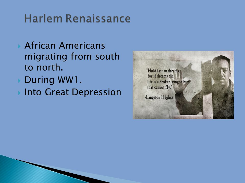  African Americans migrating from south to north.  During WW1.  Into Great Depression