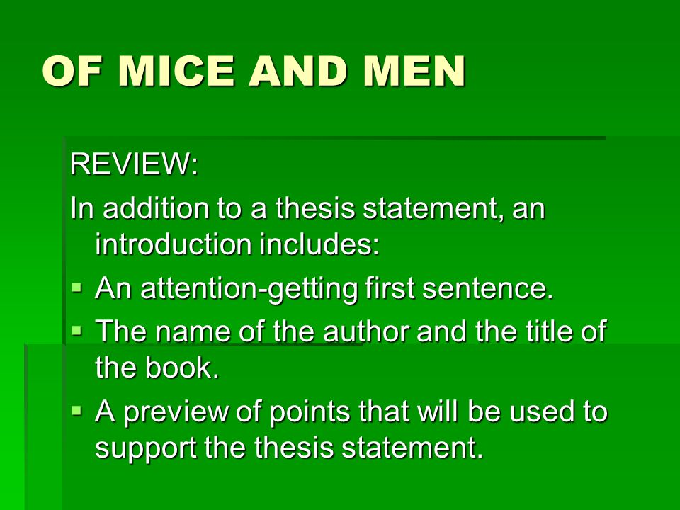 Of Mice And Men Paper Assignment Of Mice And Men Literary Analysis   Of Mice And Men Review  Science Argumentative Essay Topics also Good Thesis Statements For Essays  Example Thesis Statement Essay