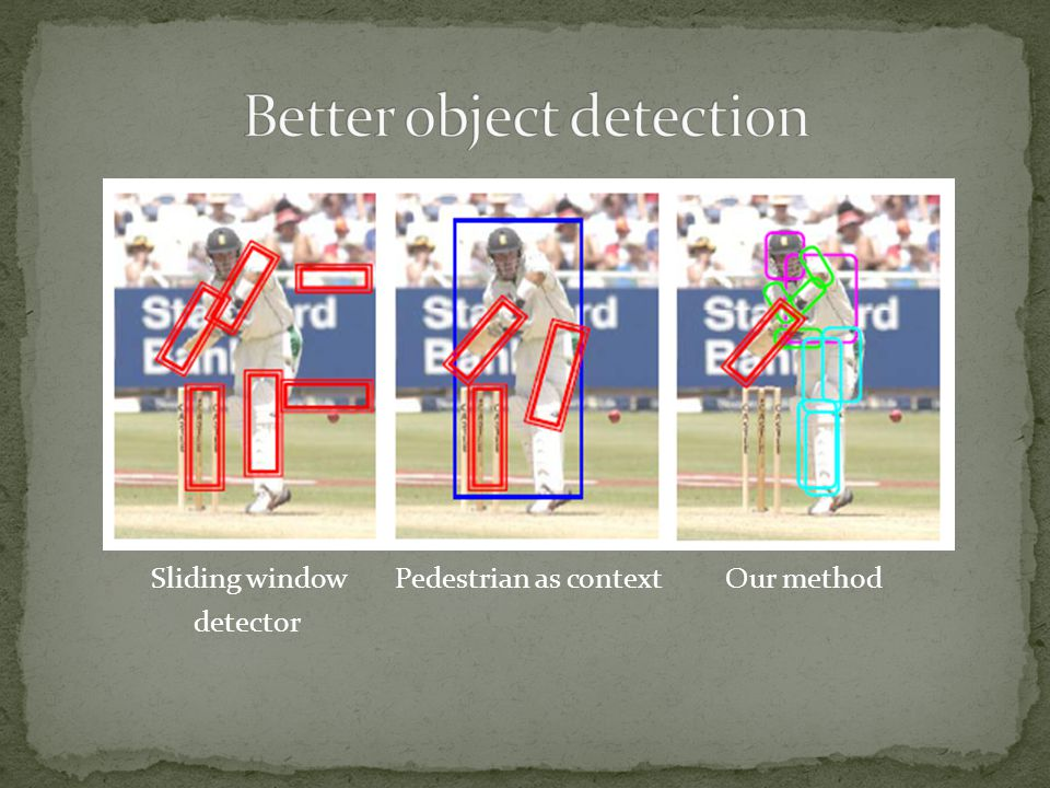 Sliding window Pedestrian as context Our method detector