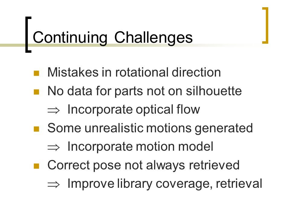 Continuing Challenges Mistakes in rotational direction No data for parts not on silhouette  Incorporate optical flow Some unrealistic motions generated  Incorporate motion model Correct pose not always retrieved  Improve library coverage, retrieval