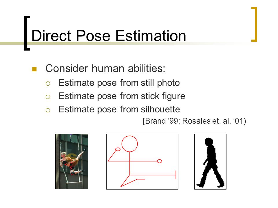 Direct Pose Estimation Consider human abilities:  Estimate pose from still photo  Estimate pose from stick figure  Estimate pose from silhouette [Brand '99; Rosales et.
