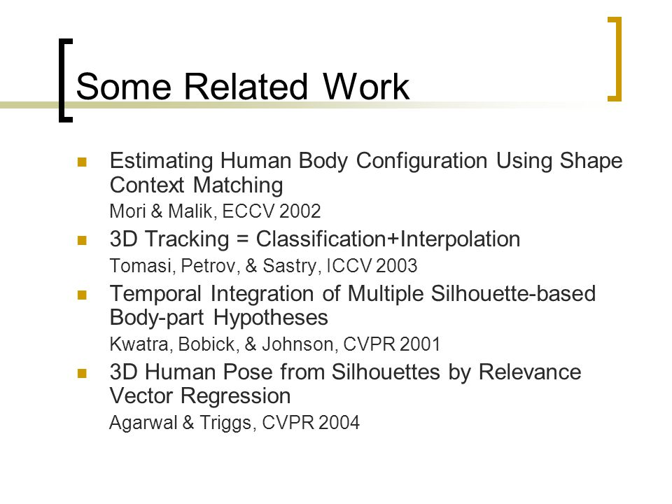 Some Related Work Estimating Human Body Configuration Using Shape Context Matching Mori & Malik, ECCV D Tracking = Classification+Interpolation Tomasi, Petrov, & Sastry, ICCV 2003 Temporal Integration of Multiple Silhouette-based Body-part Hypotheses Kwatra, Bobick, & Johnson, CVPR D Human Pose from Silhouettes by Relevance Vector Regression Agarwal & Triggs, CVPR 2004