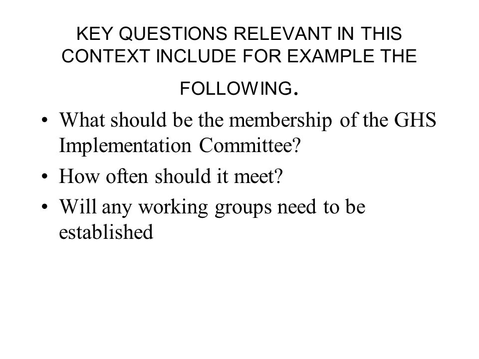 KEY QUESTIONS RELEVANT IN THIS CONTEXT INCLUDE FOR EXAMPLE THE FOLLOWING.