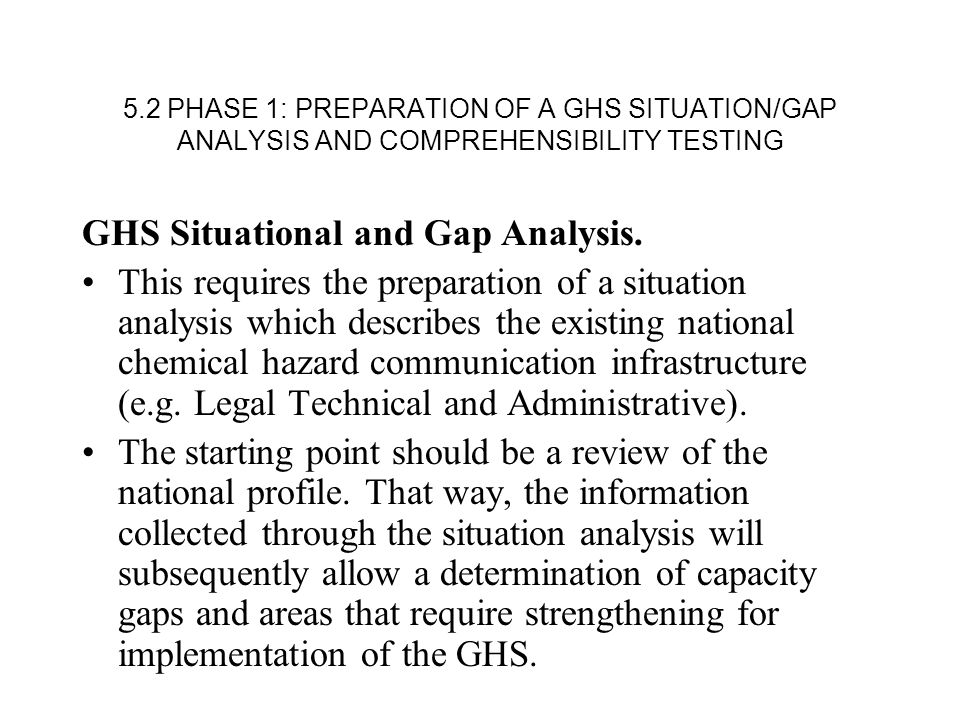 5.2 PHASE 1: PREPARATION OF A GHS SITUATION/GAP ANALYSIS AND COMPREHENSIBILITY TESTING GHS Situational and Gap Analysis.