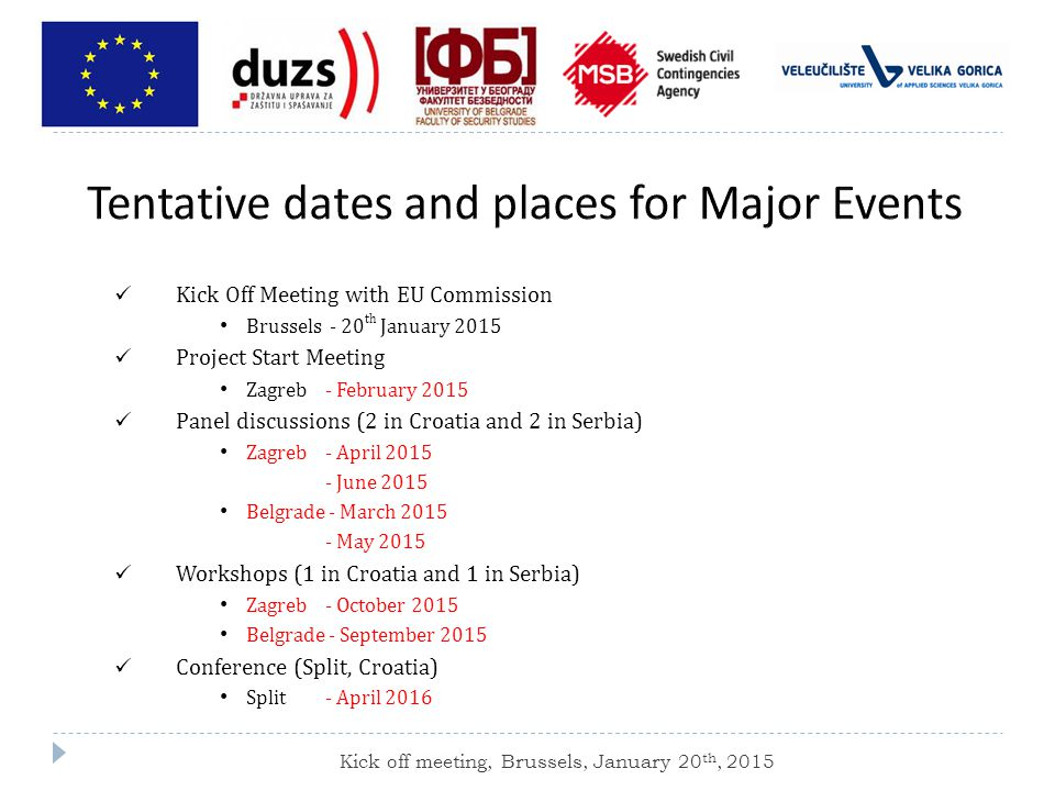 Kick Off Meeting with EU Commission Brussels - 20 th January 2015 Project Start Meeting Zagreb - February 2015 Panel discussions (2 in Croatia and 2 in Serbia) Zagreb - April June 2015 Belgrade - March May 2015 Workshops (1 in Croatia and 1 in Serbia) Zagreb - October 2015 Belgrade - September 2015 Conference (Split, Croatia) Split - April 2016