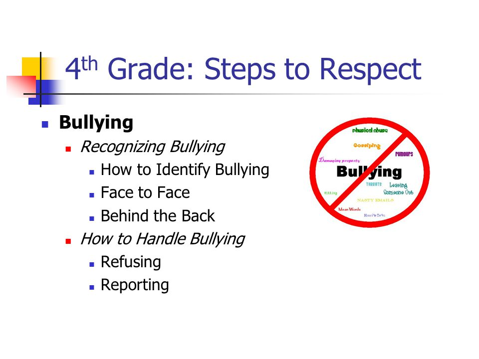 4 th Grade: Steps to Respect Bullying Recognizing Bullying How to Identify Bullying Face to Face Behind the Back How to Handle Bullying Refusing Reporting
