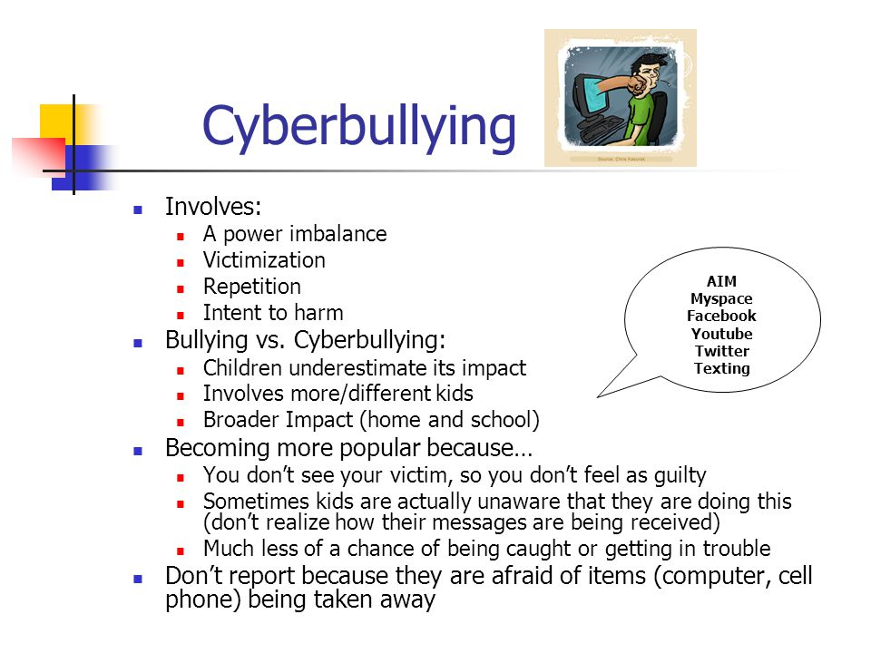 Cyberbullying Involves: A power imbalance Victimization Repetition Intent to harm Bullying vs.