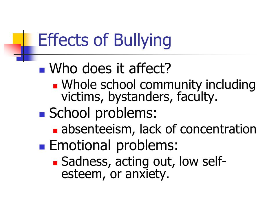 Effects of Bullying Who does it affect.
