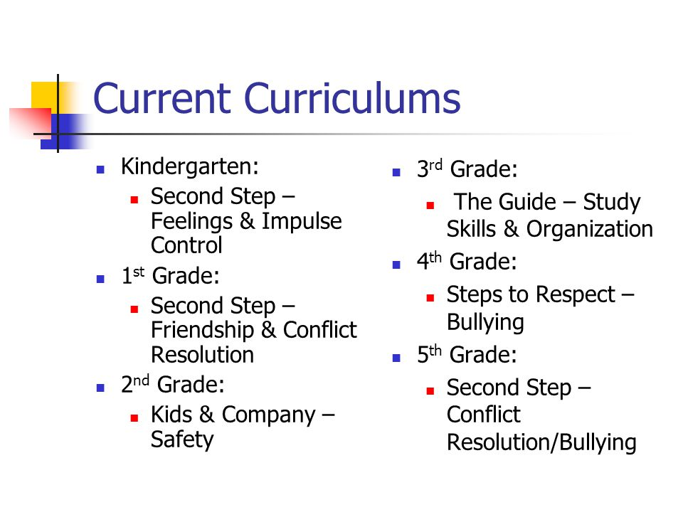 Current Curriculums Kindergarten: Second Step – Feelings & Impulse Control 1 st Grade: Second Step – Friendship & Conflict Resolution 2 nd Grade: Kids & Company – Safety 3 rd Grade: The Guide – Study Skills & Organization 4 th Grade: Steps to Respect – Bullying 5 th Grade: Second Step – Conflict Resolution/Bullying