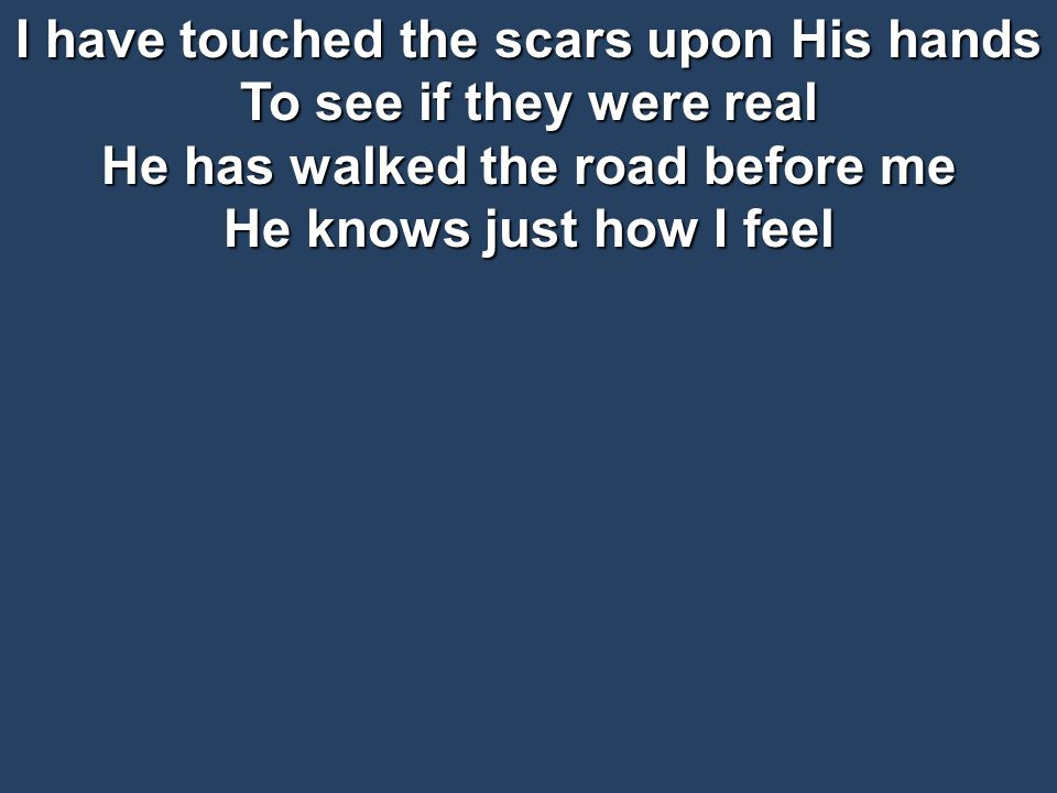 I have touched the scars upon His hands To see if they were real He has walked the road before me He knows just how I feel